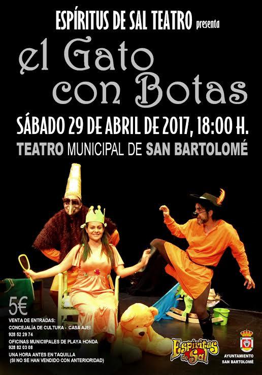 """""""Espíritu de Sal Teatro"""" presenta el espectáculo familiar """"El gato con botas"""" el sábado 29 de abril a las 18.00 horas en el Teatro de San Bartolomé"""