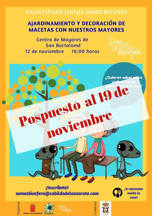 Aplazada al 19 de noviembre la actividad de voluntariado que Junt@s Somos Biosfera llevará a cabo con los mayores del municipio de San Bartolomé