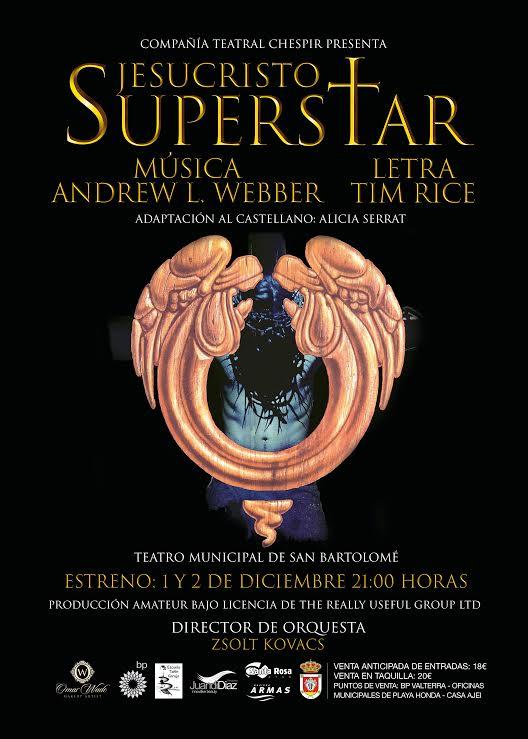 El teatro musical Jesucristo SuperStar llega a San Bartolomé de la mano de Chespir los días 1 y 2 de diciembre