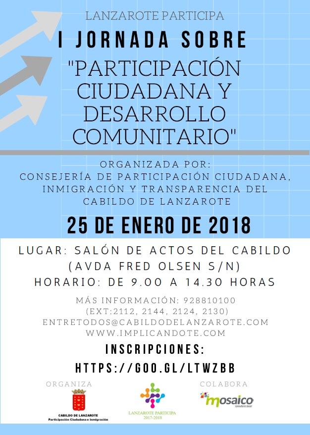 El Cabildo de Lanzarote organiza la 'I Jornada sobre Participación Ciudadana y Desarrollo Comunitario' dirigidas a toda la población