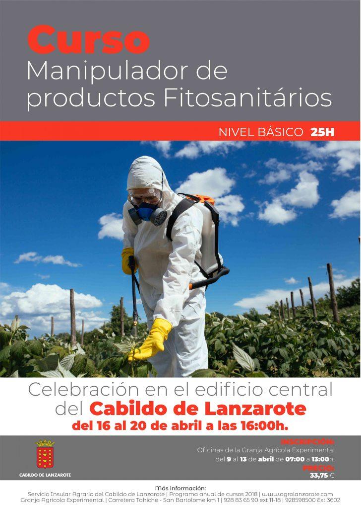 El Cabildo de Lanzarote celebrará del 16 al 20 de abril un nuevo curso de manipulador de productos fitosanitarios, nivel básico