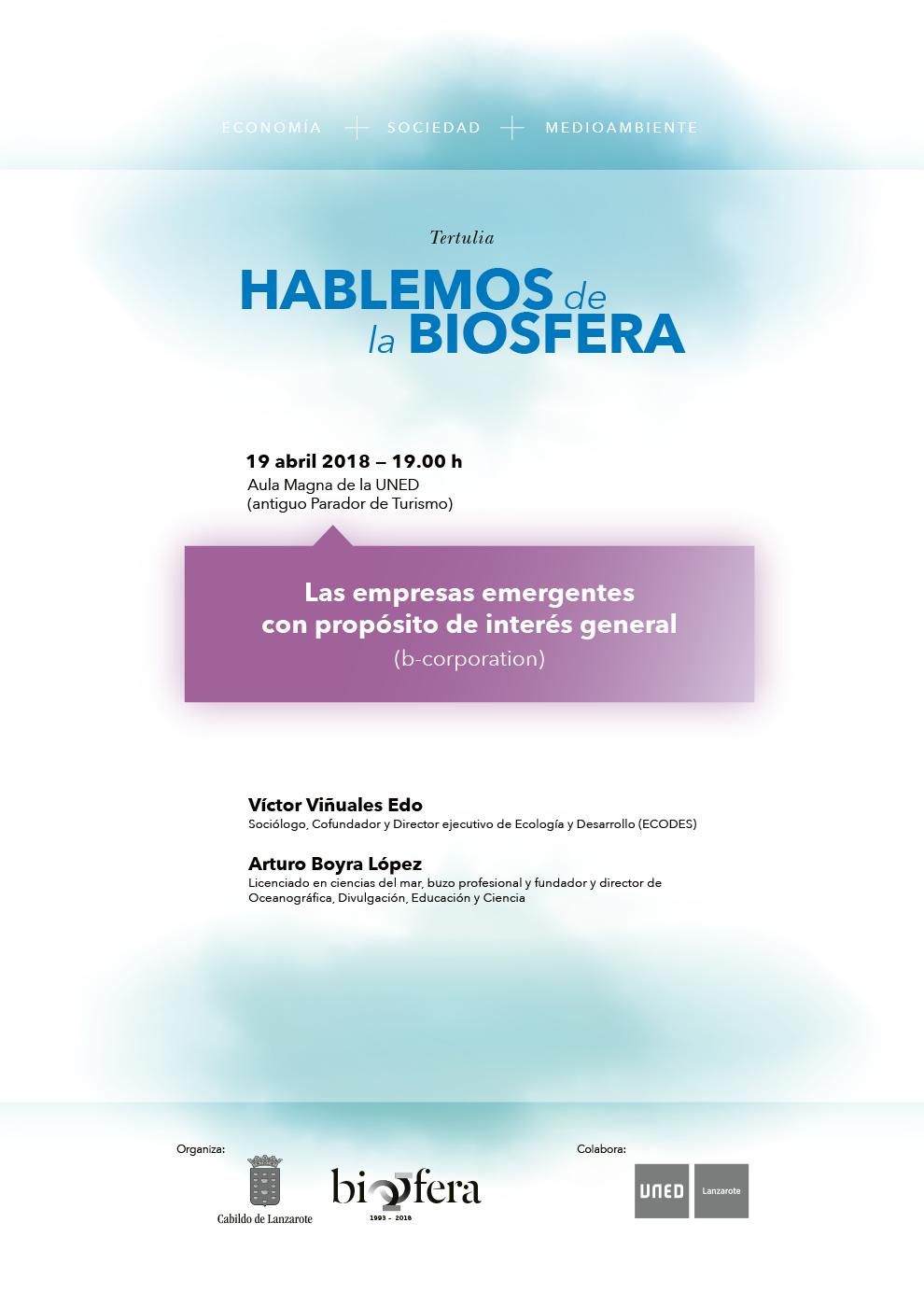 La sostenibilidad aplicada a las políticas empresariales y el movimiento internacional 'B-Corporation', temas de las próximas charlas de la Reserva de la Biosfera