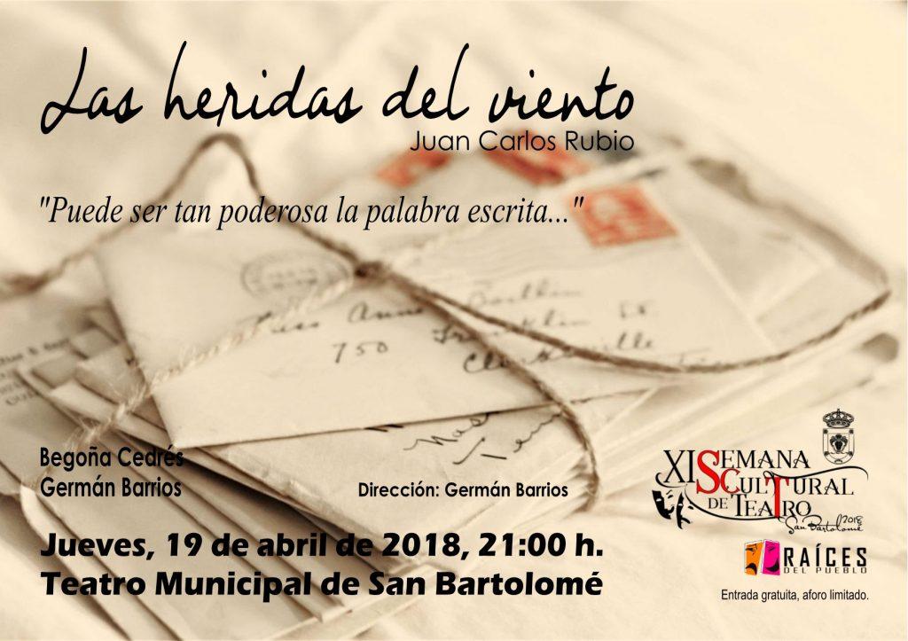 Raíces del pueblo presenta la obra Heridas del viento el jueves 19 de abril a las 21.00 horas en el Teatro de San Bartolomé