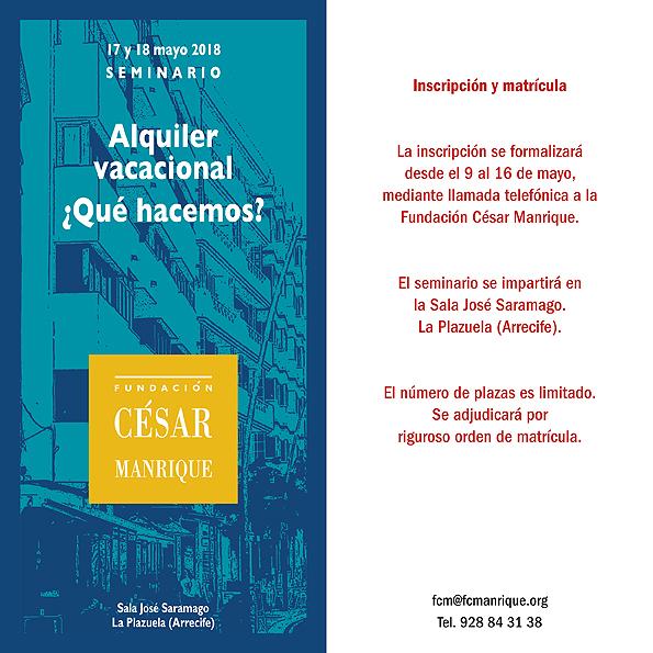 La Fundación César Manrique organiza un seminario sobre el alquiler vacacional