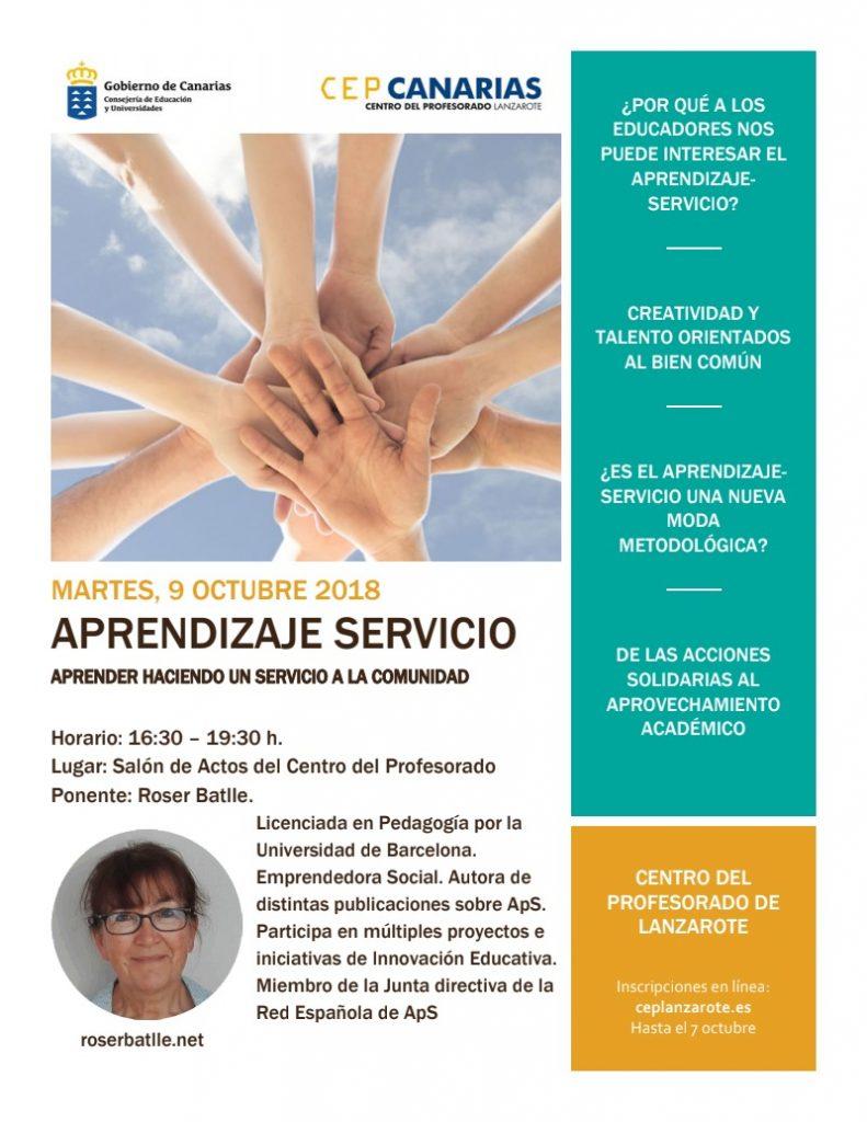 """El próximo martes 9 de octubre a partir de las 16:30 hse celebrará en el Salón de Actos de este Centro del Profesorado la ponencia de Roser Batlle: """"Aprendizaje Servicio: Aprender haciendo un servicio a la comunidad"""""""