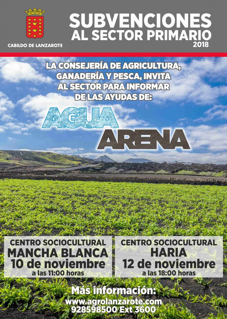 El Cabildo de Lanzarote convoca al sector primario a dos reuniones para informar de las subvenciones al agua y la arena para fincas