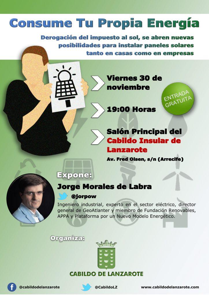 El Área de Industria del Cabildo de Lanzarote organiza una nueva charla a cargo del experto Jorge Morales de Labra