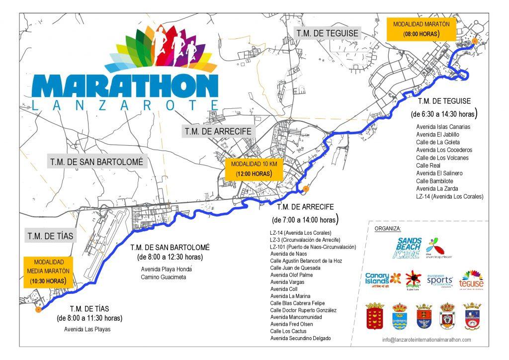 La celebración del '28º Font Vella Lanzarote International Marathon' provocará cortes y restricciones de tráfico en varias carreteras de la isla