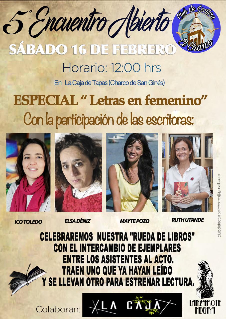 Club de lectura El Charco presenta una jornada dedicada a la literatura femenina en su «V Encuentro abierto»