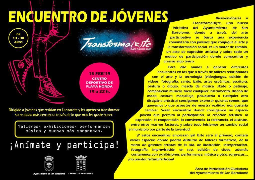 I Encuentro de jóvenes «Transformarte» San Bartolomé, el 15 de febrero de 19.00 a 22.00 horas en el Centro Deportivo de Playa Honda