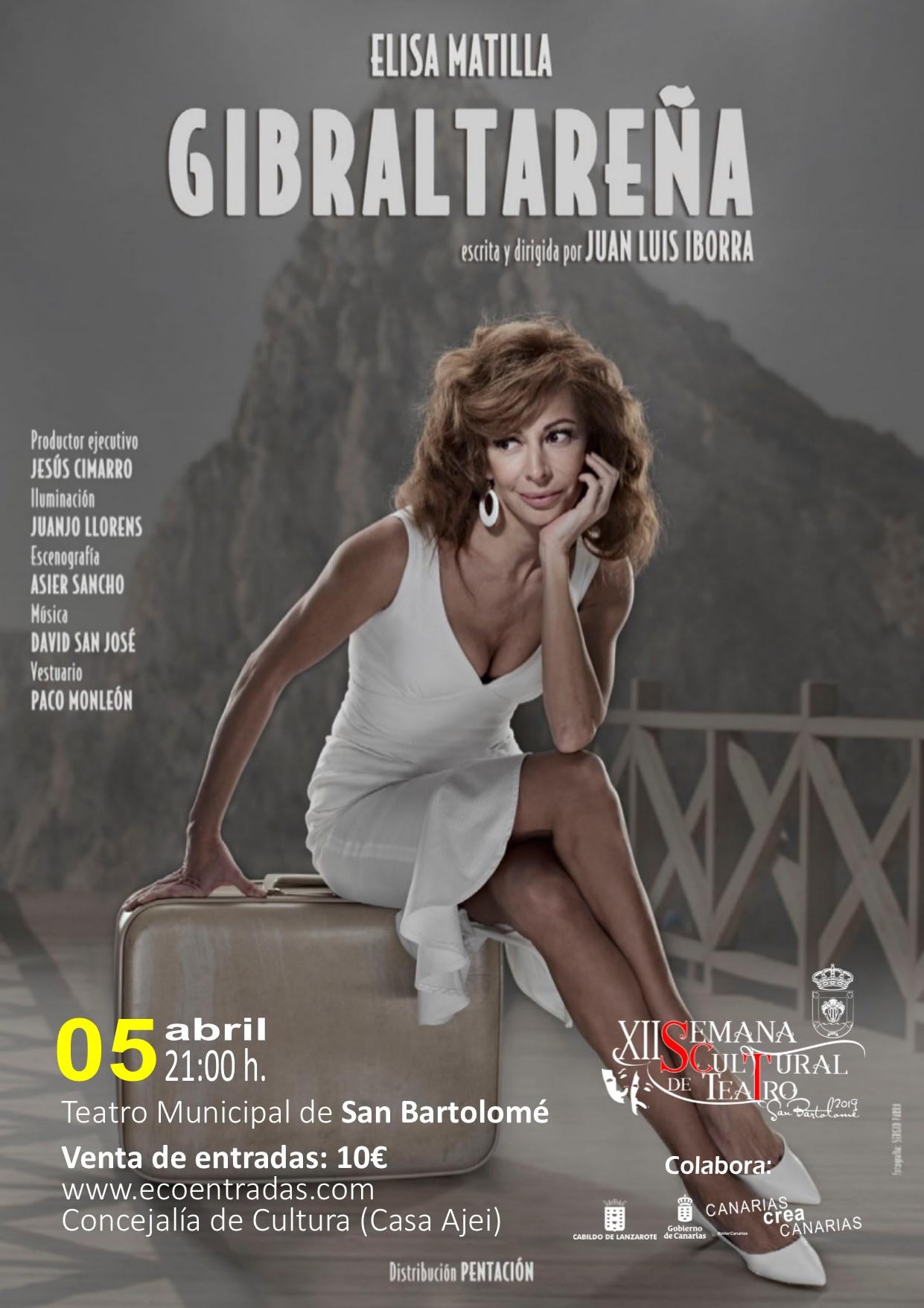 Elisa Matilla llega a San Bartolomé con la obra 'Gibraltareña' el viernes 5 de abril a las 21.00 horas