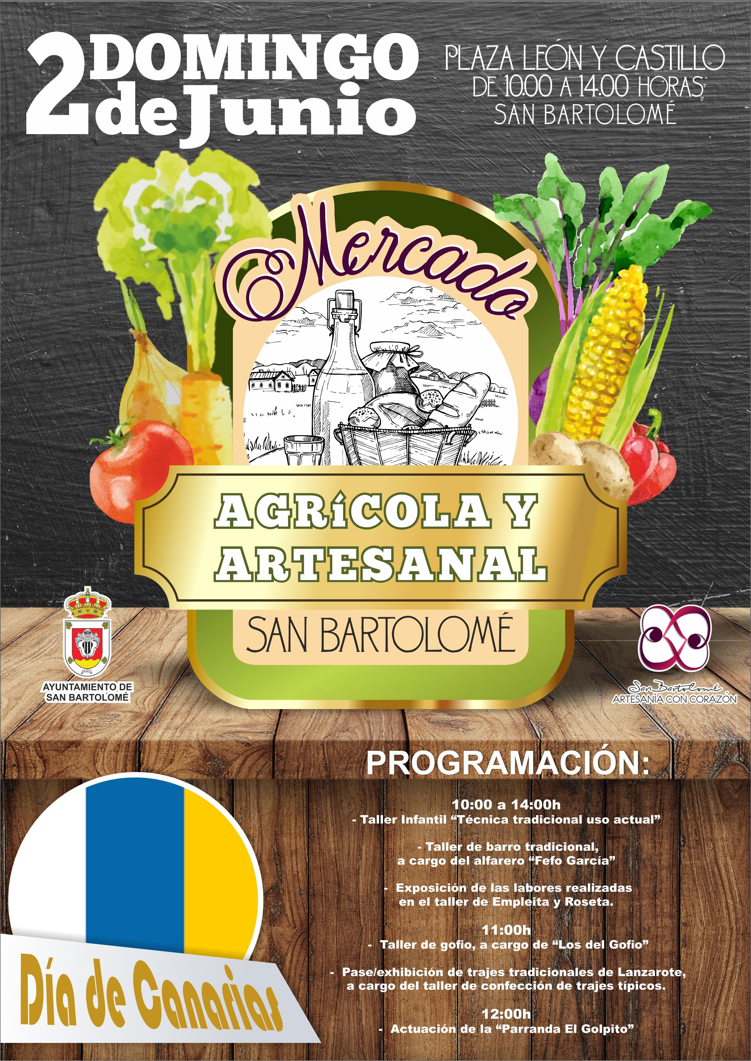El Mercado Agrícola y Artesanal de San Bartolomé que se celebrará el domingo 2 de junio estará dedicado al Día de Canarias