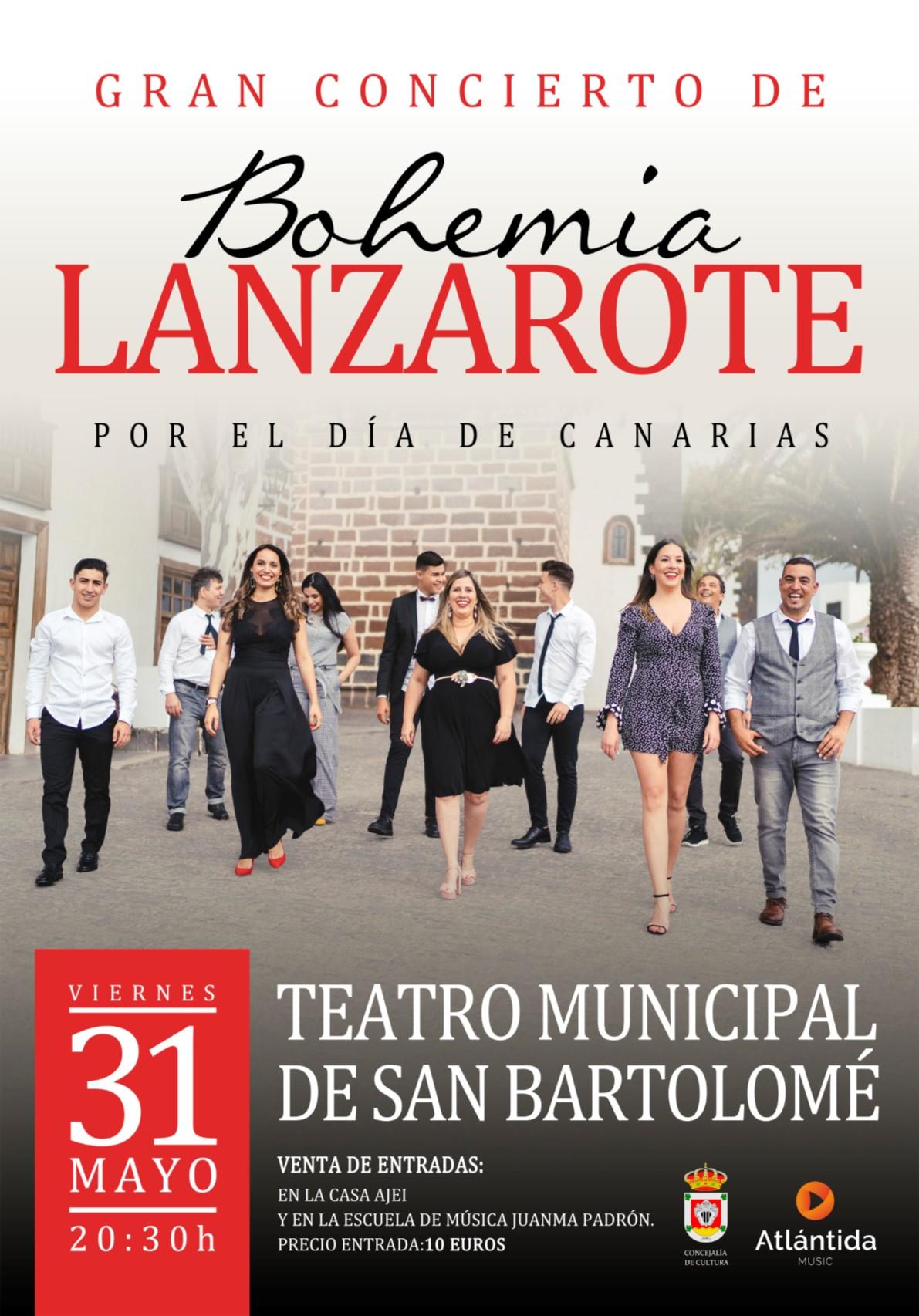 Gran Concierto de Bohemia Lanzarote por el Día de Canarias, el viernes, día 31 de mayo, a las 20.30 horas en el Teatro de San Bartolomé
