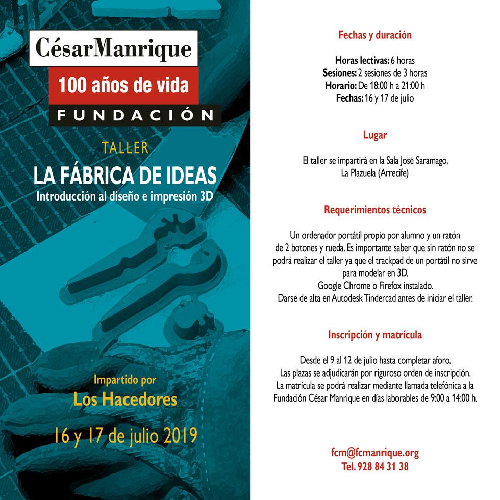 La Fundación César Manrique organiza un taller de diseño e impresión en 3D, en el marco del centenario de su fundador