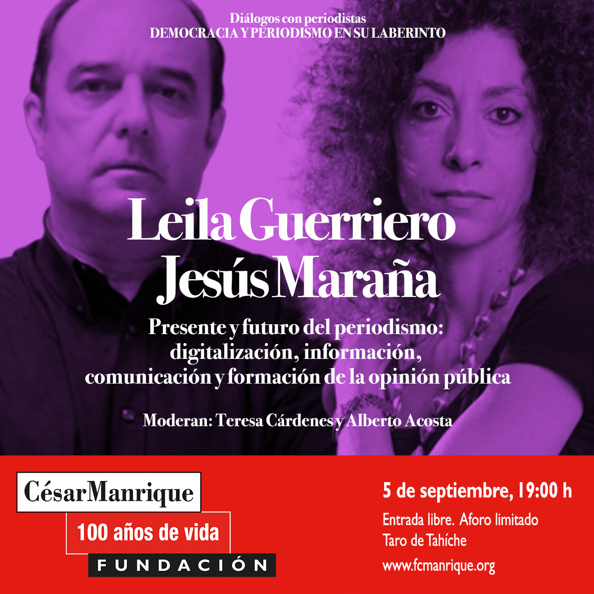 Leila Guerriero y Jesús Maraña conversarán sobre el presente y el futuro del periodismo en la Fundación César Manrique, en el marco del centenario de su fundador