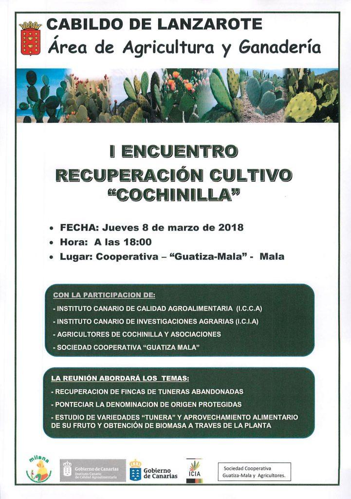 La sede de la Cooperativa Guatiza-Mala, ubicada en Mala, acogerá mañana jueves un encuentro que abordará la recuperación del cultivo de la cochinilla
