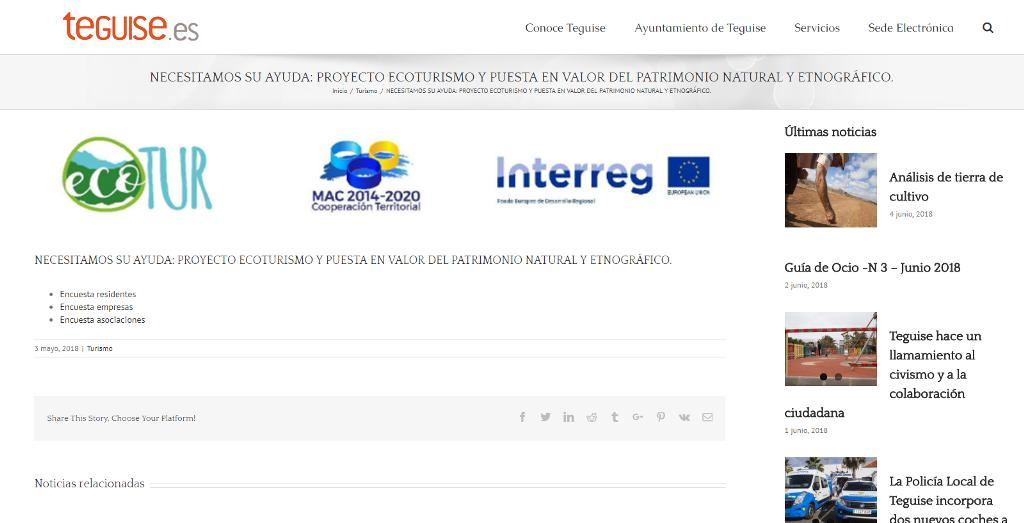 Teguise abre una encuesta online sobre el ecoturismo en el municipio