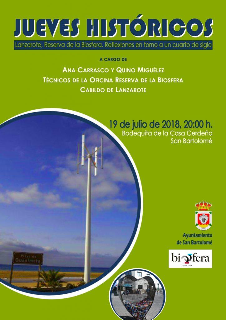 """La Bodeguita de la Casa Cerdeña acogerá la charla dentro de los Jueves Históricos """"Lanzarote. Reserva de la Biosfera, Reflexiones en torno a un cuarto de siglo"""""""