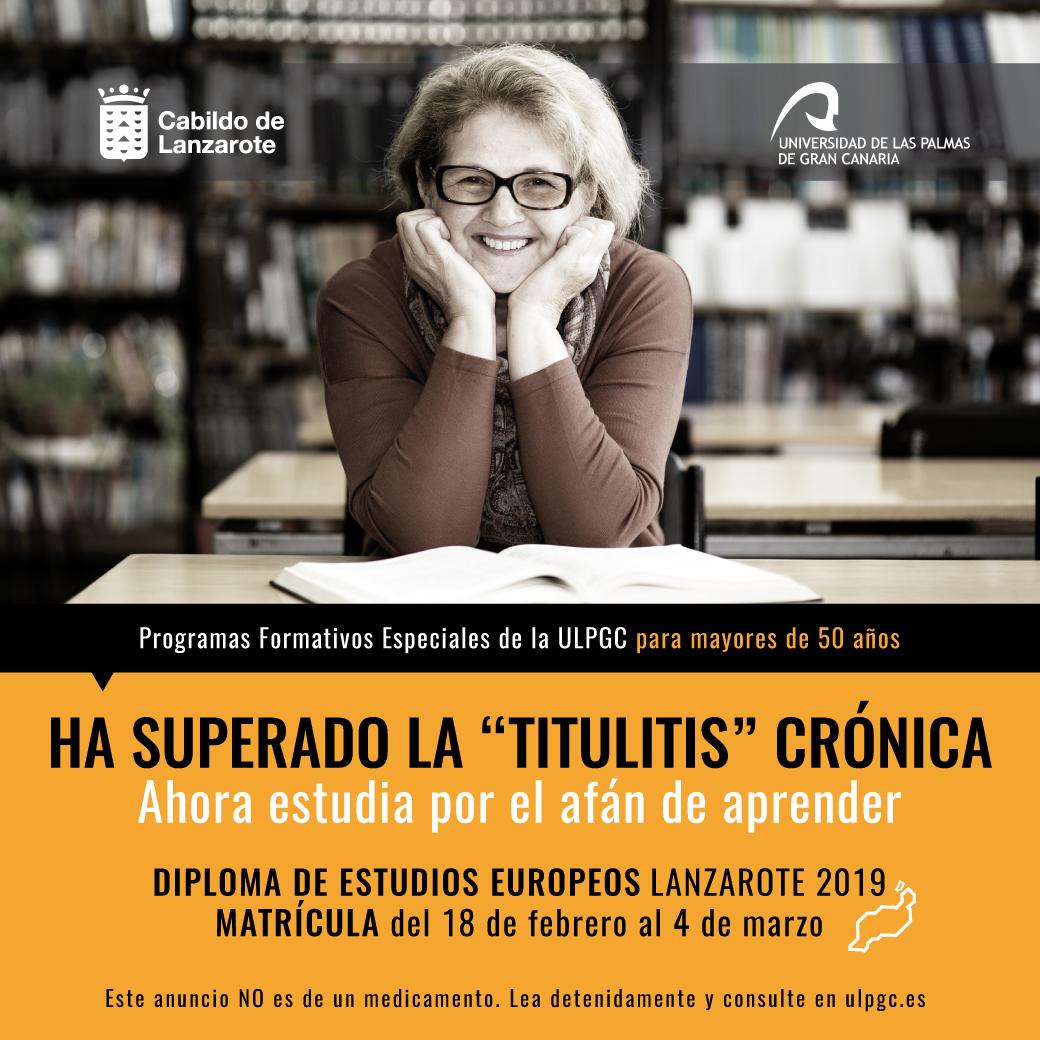 Abierto el plazo de matriculación para el Diploma de Estudios Europeos que imparte la ULPGC en Lanzarote