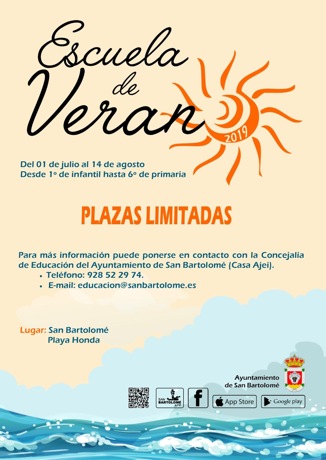 Abierto el plazo de inscripción en la Escuela de Verano en el municipio de San Bartolomé
