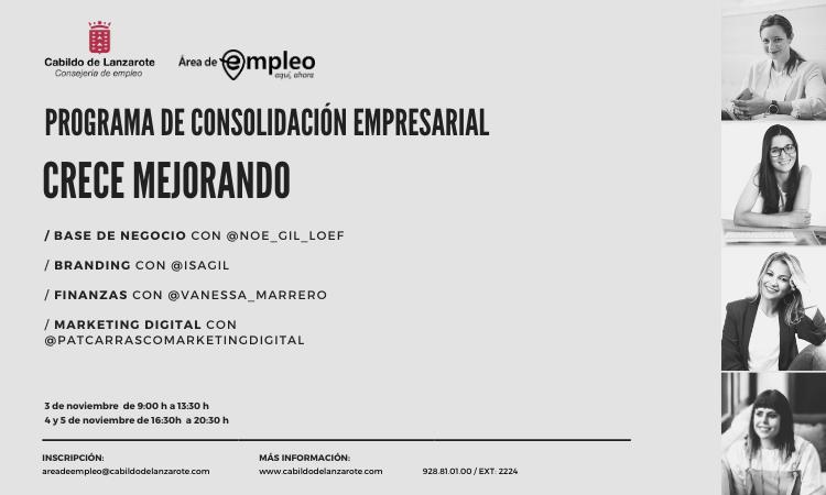 'Crece Mejorando' para PYMES y autónomos programa de consolidación empresarial que pone en   marcha el Cabildo de Lanzarote