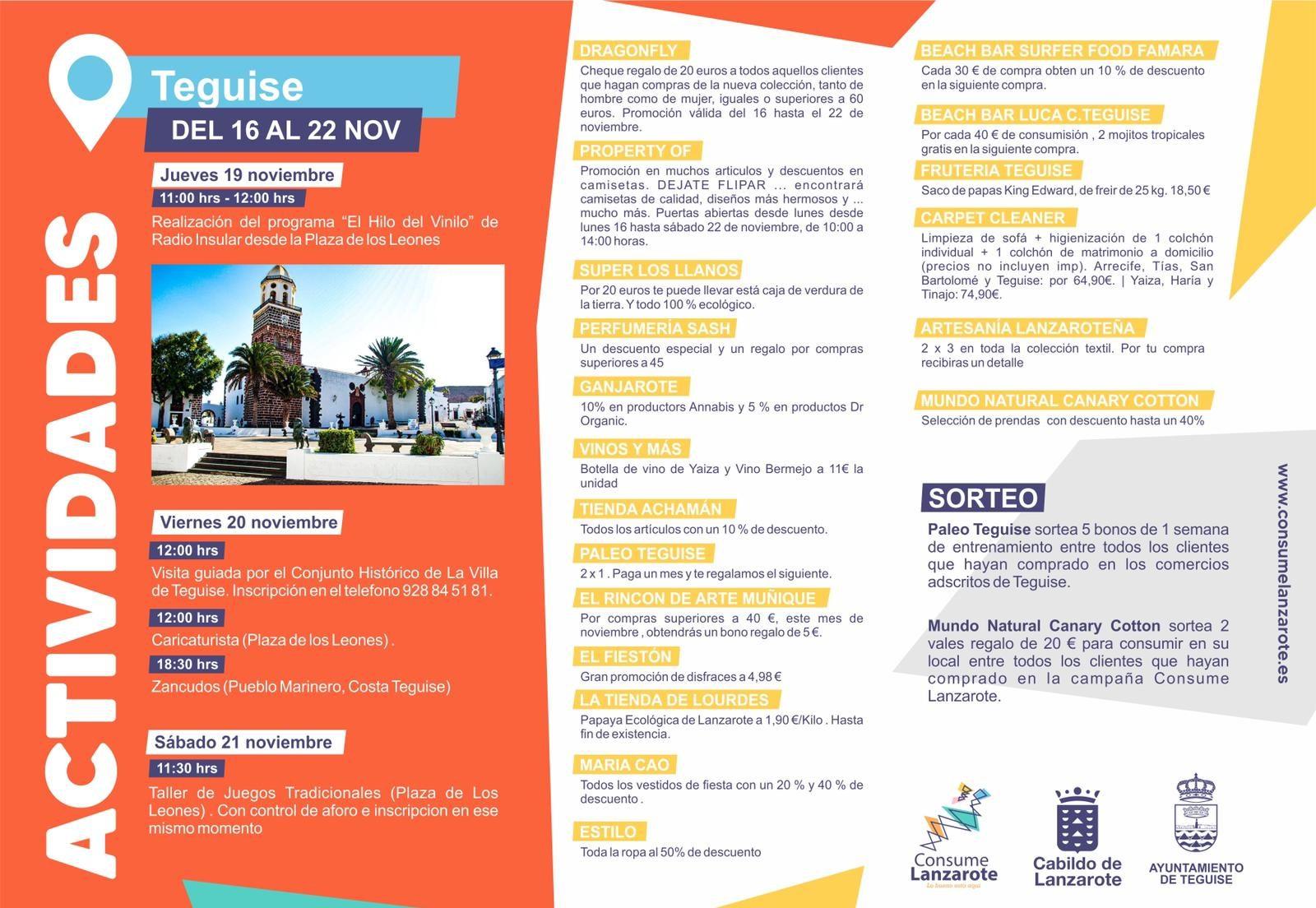 Teguise da la bienvenida a la campaña de dinamización comercial Consume Lanzarote