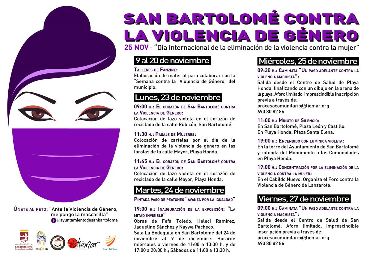 San Bartolomé conmemora el 'Día de la Eliminación de la violencia contra la mujer' con importantes actos