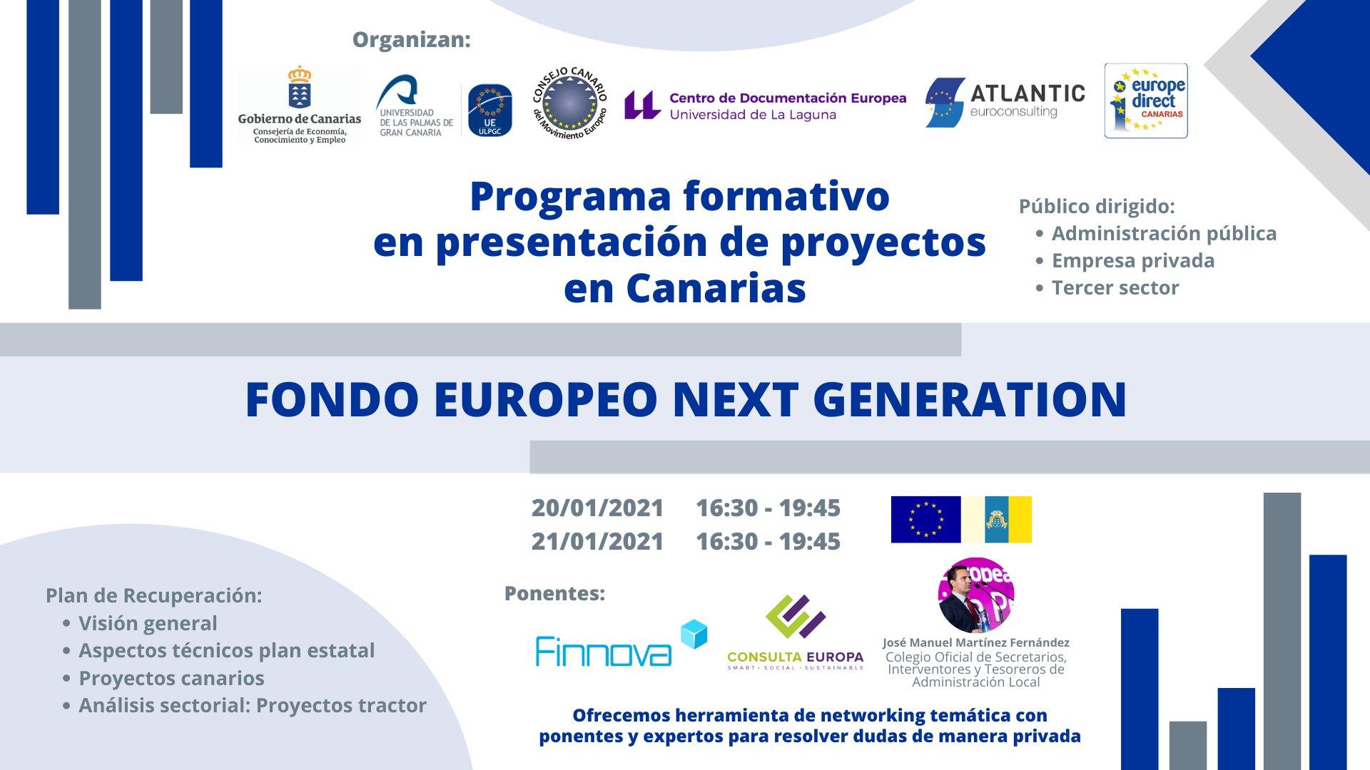 Economía convoca un programa formativo sobre los proyectos financiables por los fondos europeos de recuperación