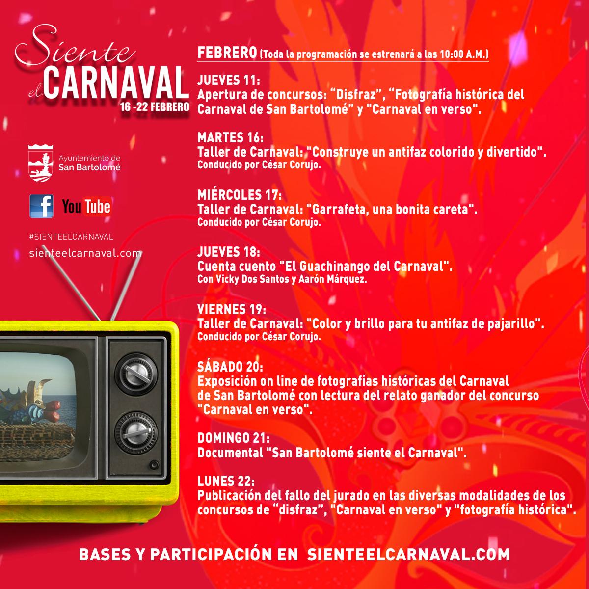 Online. Programación carnavalera de San Bartolomé del 16 al 21 de febrero 2021