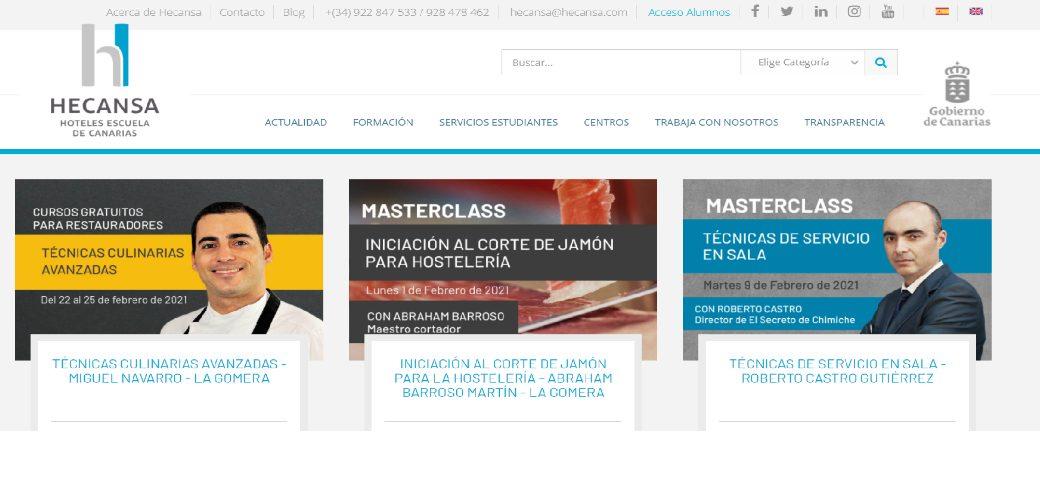 Hecansa refuerza la formación online de los hosteleros de La Gomera con tres cursos gratuitos en febrero