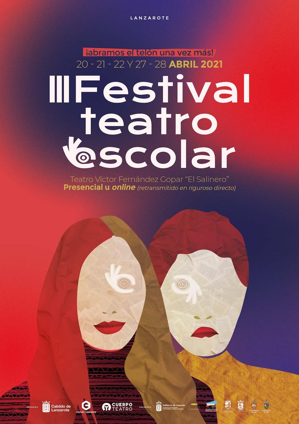 La clausura del 3º Festival de Teatro Escolar de Lanzarote se celebrará presencialmente y online entre el 20 y el 28 de abril