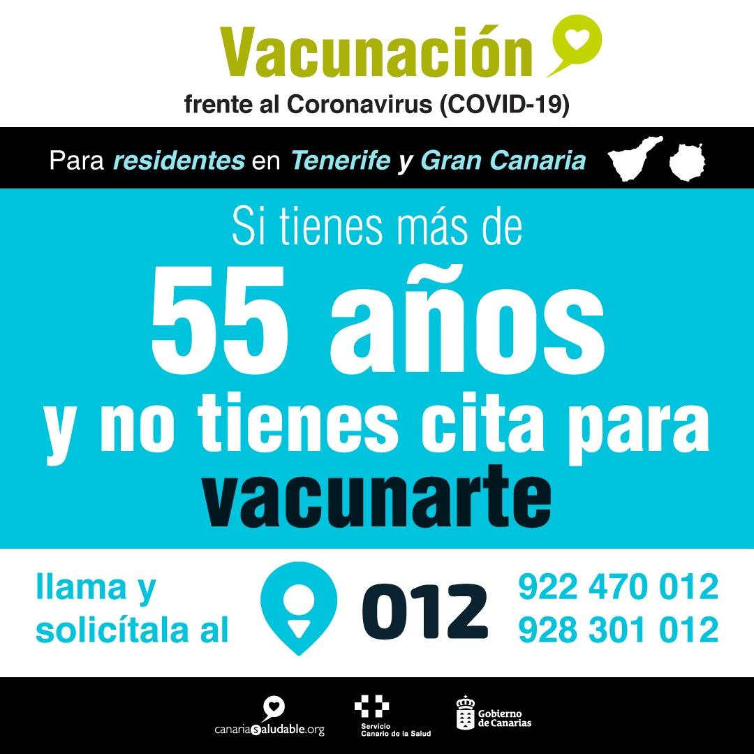 Los residentes en Gran Canaria y Tenerife de entre 50 y 59 años podrán acceder a su cita a través del SCS