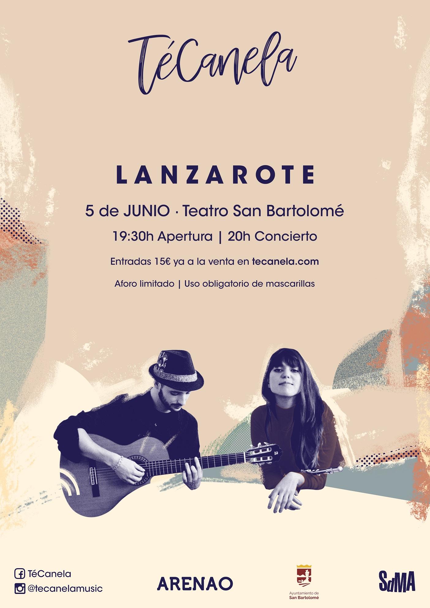 Concierto de TÉCANELA en el Teatro de San Bartolomé el sábado 5 de junio a las 20.00 horas