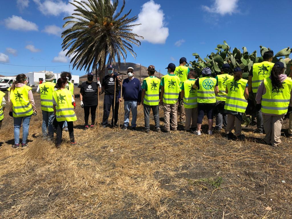 Lanzarote adecenta los terrenos públicos-privados aledaños a la rotonda de Mozaga