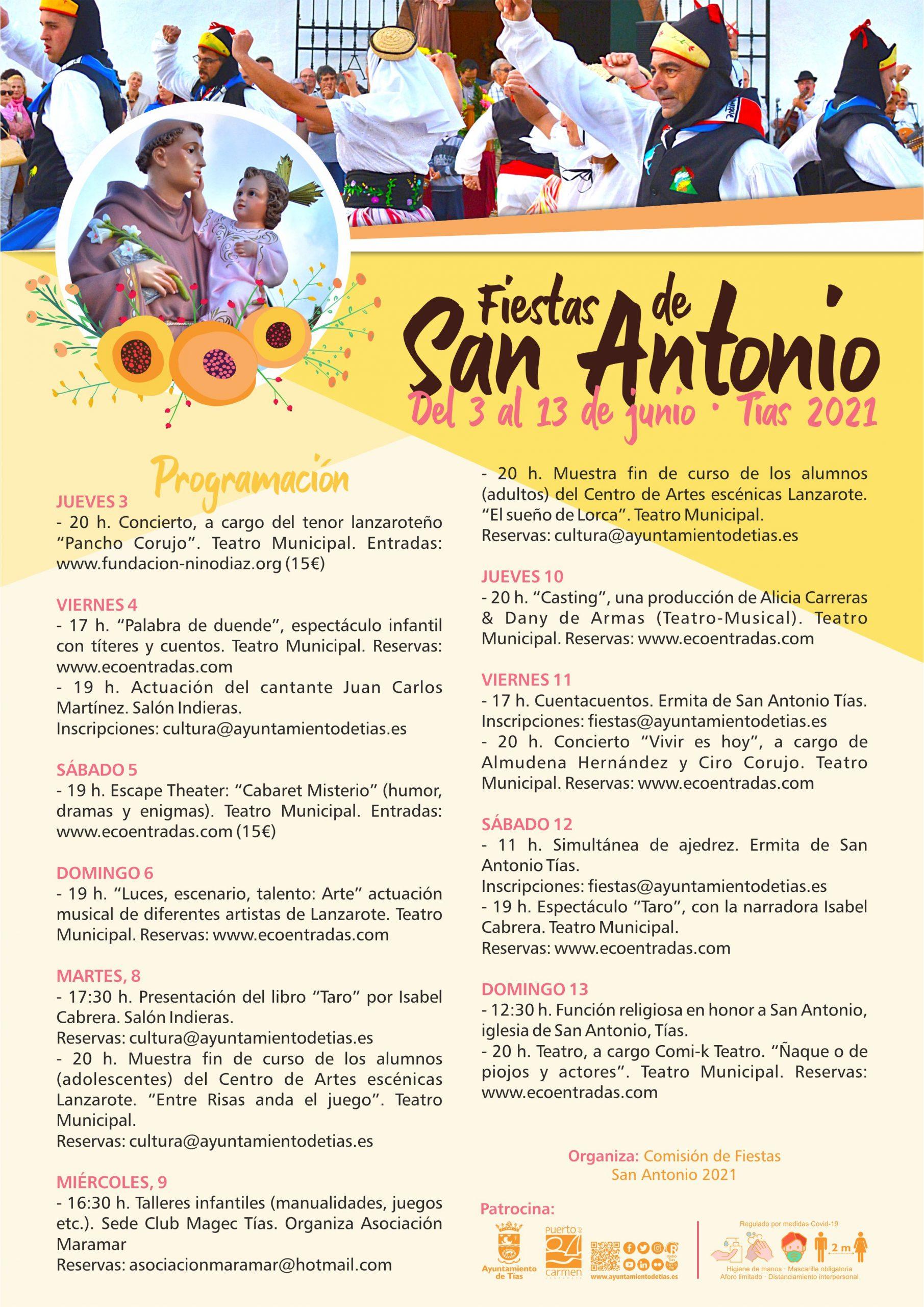 Fiestas de San Antonio en Tías con teatro, musicales y conciertos