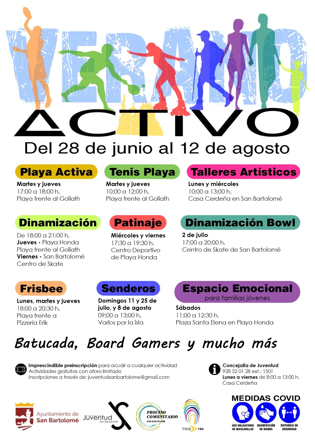 San Bartolomé presenta una amplia programación de actividades de verano para la juventud del municipio