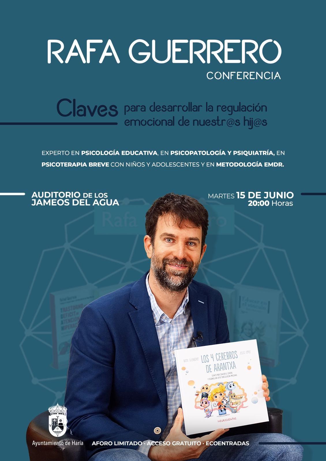 Haría acoge la conferencia de Rafa Guerrero, 'Claves para desarrollar la regulación emocional de nuestr@s hij@s'