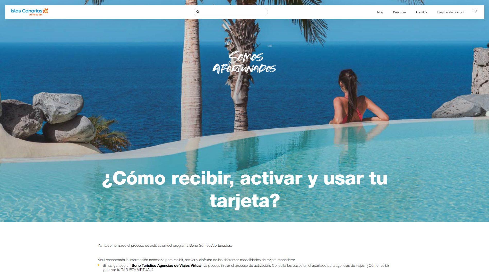 Los beneficiarios de los bonos impulsados por Turismo de Canarias pueden activar desde hoy sus tarjetas virtuales