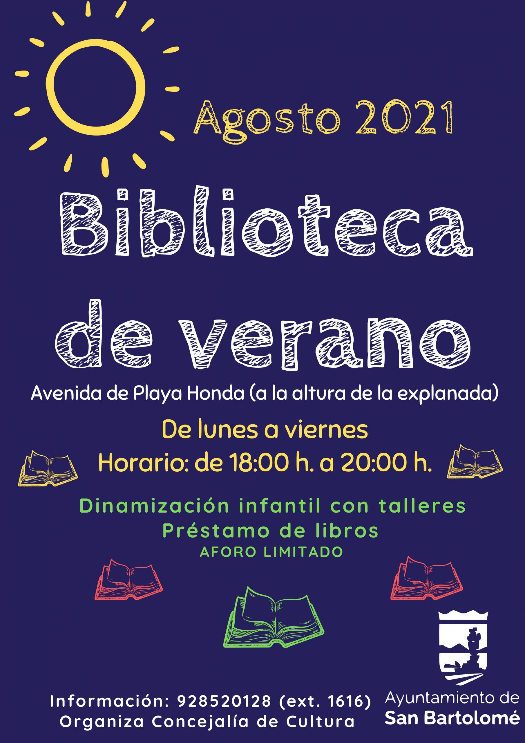 """El Ayuntamiento de San Bartolomé ofrece en el mes de agosto en Playa Honda el servicio de """"Biblioteca de Verano"""" en Guacimeta a la altura de la explanada"""