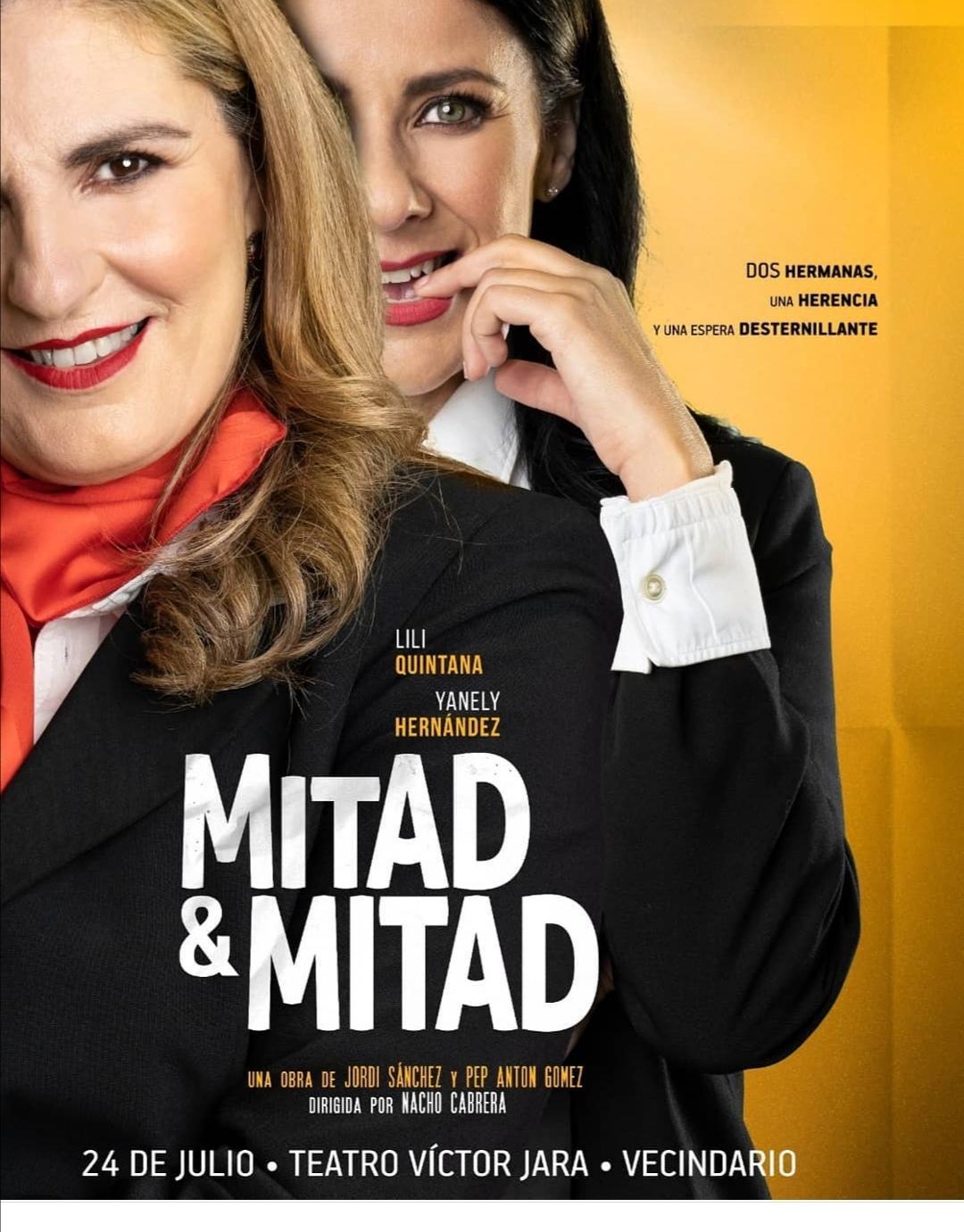Se presenta en el teatro Víctor Jara de Vecindario la comedia 'Mitad y mitad', que protagonizan Lili Quintana y Yanely Hernández
