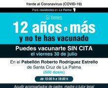 Sanidad organiza este viernes en La Palma una jornada de vacunación sin cita para mayores de 12 años
