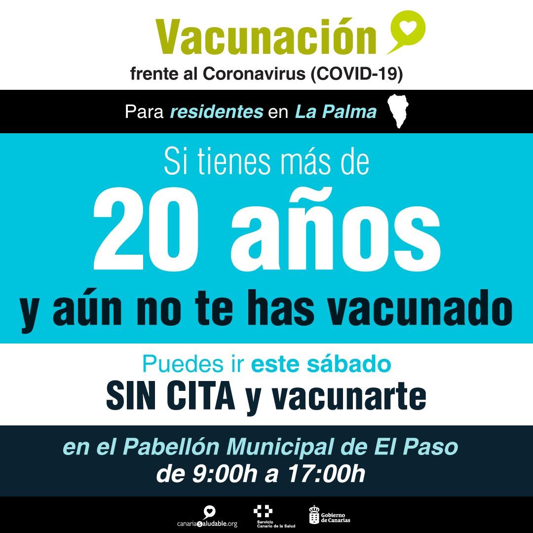 Los residentes en La Palma mayores de 20 años pueden vacunarse este sábado sin cita previa