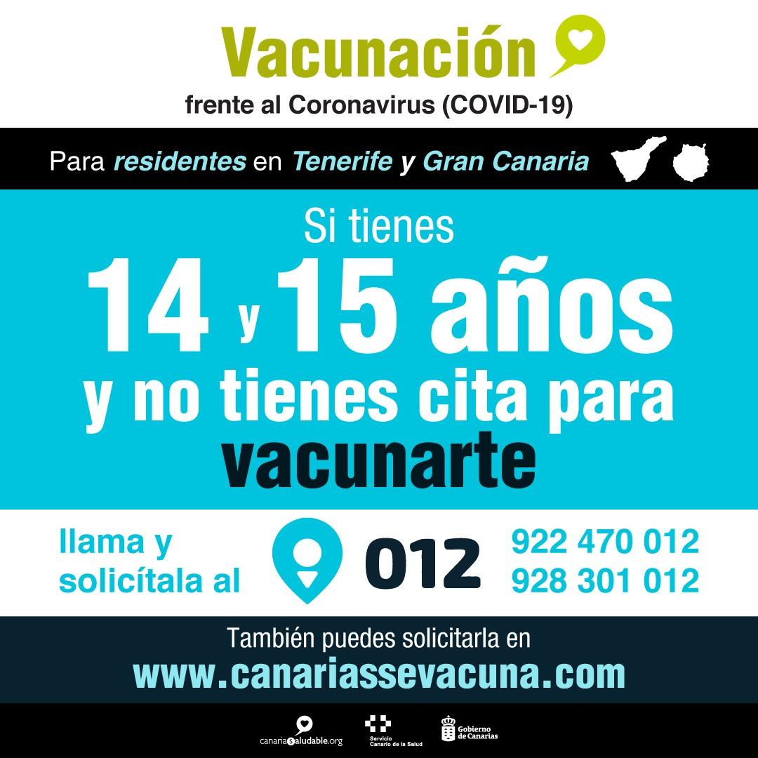 Los residentes en Gran Canaria y Tenerife de 14 y 15 años que no han sido vacunados pueden pedir cita previa