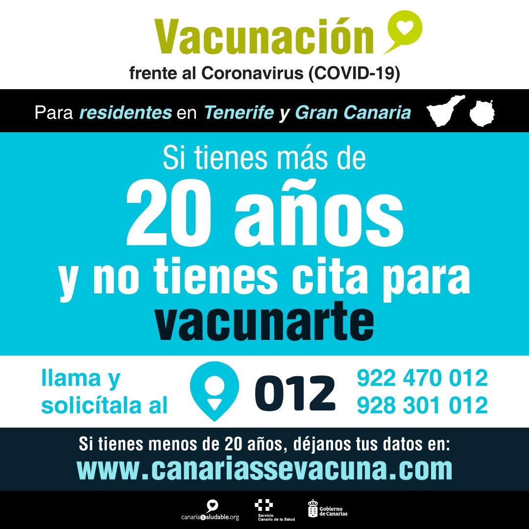 Los residentes en Gran Canaria y Tenerife mayores de 20 años que no han pedido cita pueden solicitarla en el 012