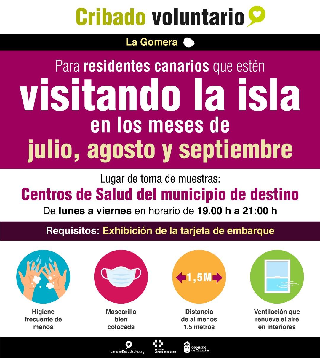 La Gerencia de Servicios Sanitarios de La Gomera inicia un cribado voluntario a residentes canarios