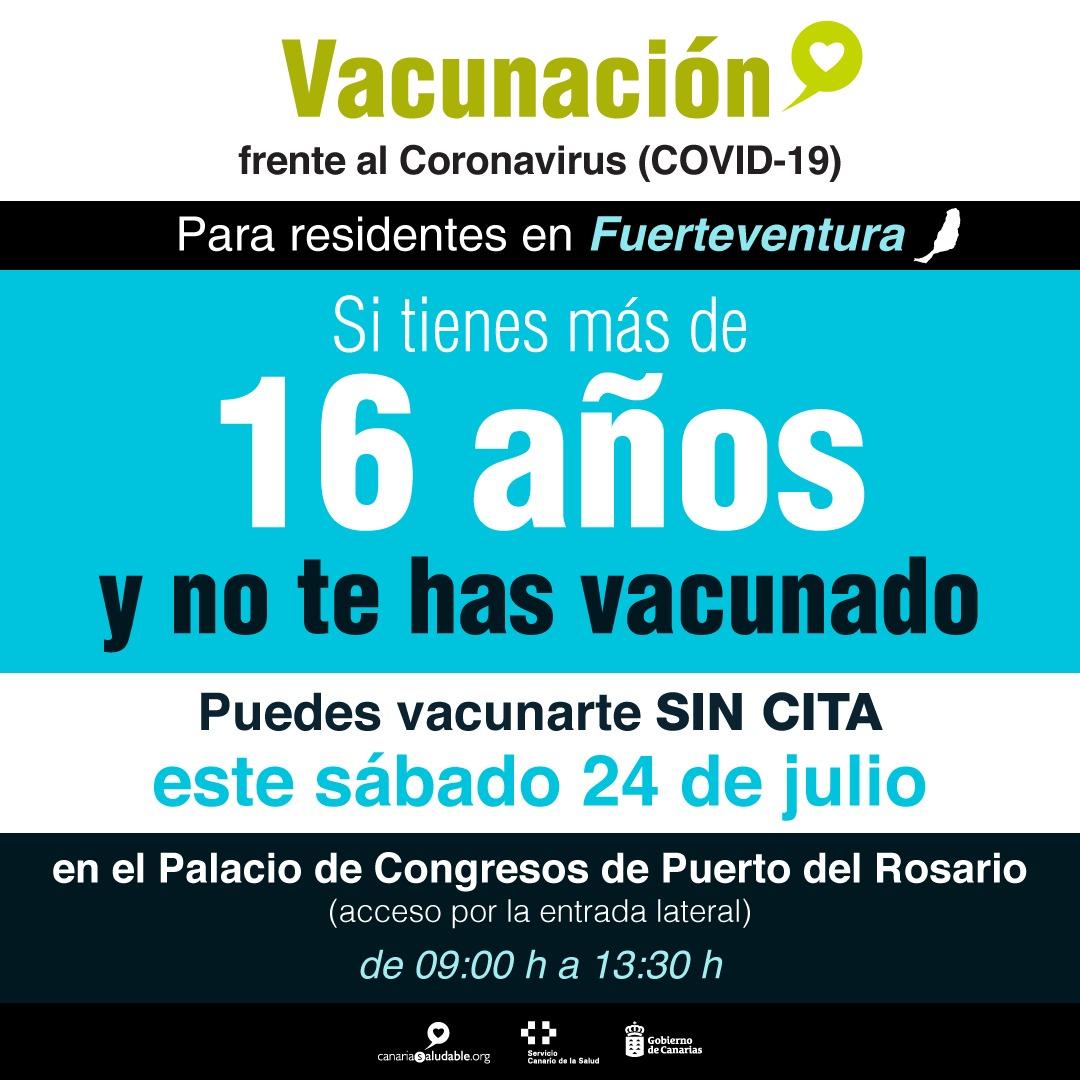 Los residentes en Fuerteventura mayores de 16 años sin vacunar pueden vacunarse sin cita este sábado