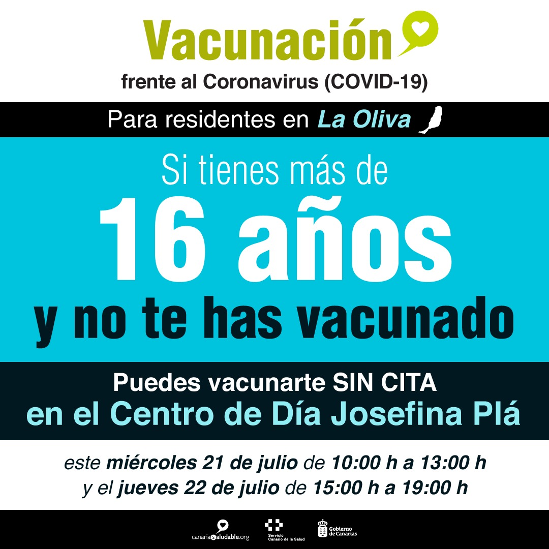 Los residentes en La Oliva mayores de 16 años sin vacunar pueden vacunarse sin cita este miércoles y jueves