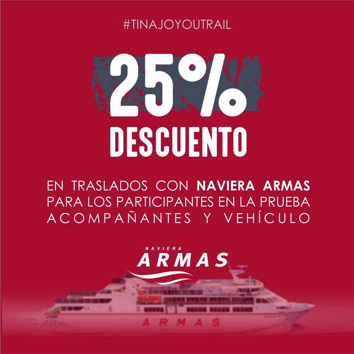 Naviera Armas ofrece descuentos del 25% para participantes de la Tinajo YouTrail