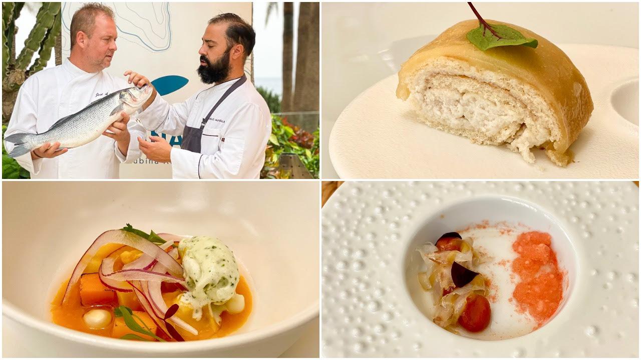 Lanzarote vivió el espectáculo de la gran lubina atlántica Aquanaria con un menú de 8 platos exclusivos concelebrado por Gonzalo Calzadilla (Isla de Lobos, Lanzarote) y José Alberto Díaz (El Sitio, La Palma)
