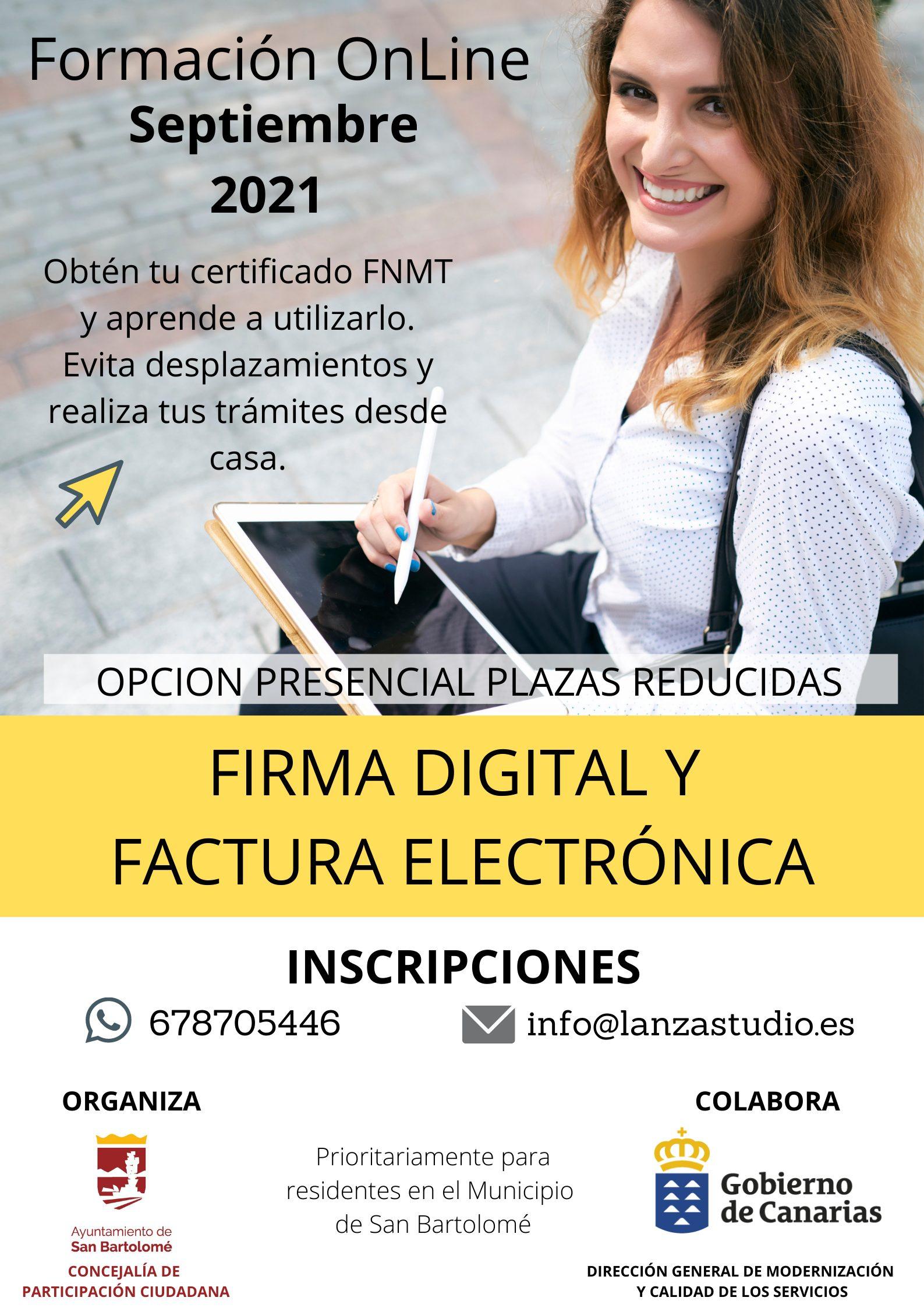 San Bartolomé oferta formación en facturación electrónica y firma digital para vecindad, colectivos y comercios del municipio